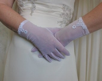 White organza gloves until the wrist Wedding accessory Bridal organza gloves Bridal Mittens Bridal accessories Crystals Mittens Bridesmaid