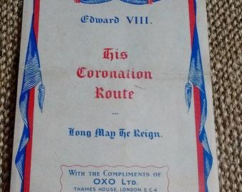 Coronation Route map King Edward VIII, 1936