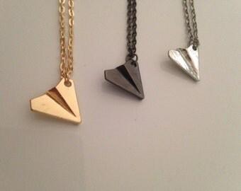 Paper Pilot / Airplane Chain - Gold, Silver, metallic black