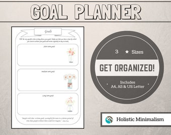 Printable GOALS PLANNER *Filofax A5, A4 & US Letter *Organize Your Life*