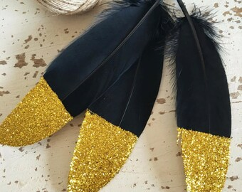 15 Glitter Dipped Feathers With 3m Twine / DIY Garland / Black Feathers Gold Glitter