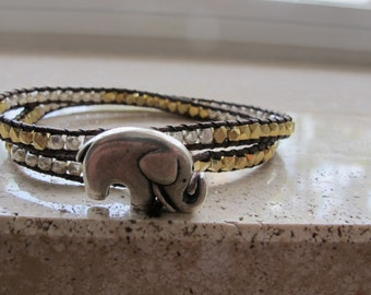Gold and Silver Elephant Wrap Bracelet (Chan Luu Remake)