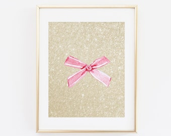 Pink Bow, Printable Wall art, Gold Glitter, Girly Art, Sparkle Wall Art, Watercolor Bow, Blush Pink, Bow Wall Art, Bows Printable Art