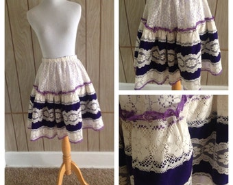 Vintage 70's does 50's lace Lolita square dance circle skirt - s/m
