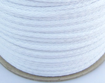 5, 10, 100 meters polyester cord 4 mm white