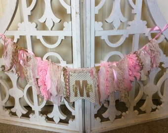 Lace and Frill Banner: Pink and Gold