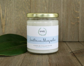 Southern Magnolia Candle | Magnolia Blossom Scented Soy Candle | 8 oz Soy Candle | Charleston SC Inspired Candles