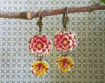 Vintage Tin Flower Garden Earrings