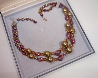 Vintage, 1950s, Beaded & Aurora Borealis Necklace (2367)