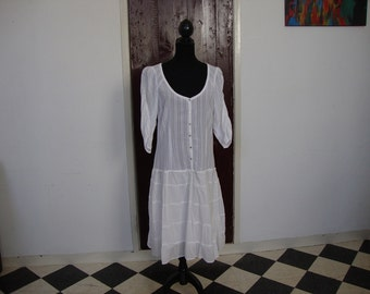 White refashioned, upcycled bohemian cotton summer dress, size L