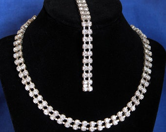 Vintage Rhinestone Necklace, Rhinestone Bracelet, Vintage Rhinestone Bracelet