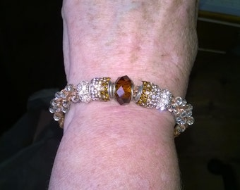 Kumihimo beaded bracelet with extender chain.