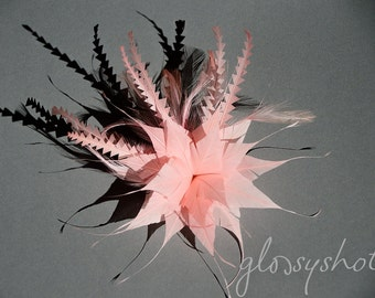 Light Pink Feather And Flower Fascinator Clip
