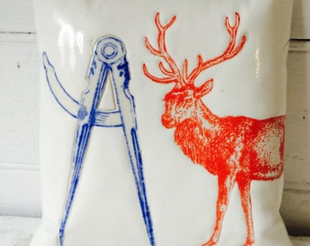 Red STAG & Compass (porcelain wall pillow)