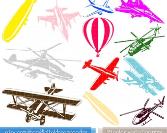 Aircraft Clipart - Jet Airplane Clipart, Hot Air Balloon Clipart, Helicopter Graphic, Blimp Image, Plane Clipart, Biplane Clipart Download