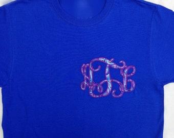 Paisley Fabric Applique Interlocking Vine Monogram T-shirt