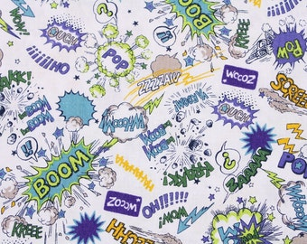 "Boom! Pow! Screech! Fabric made in Japan Kokka Fabric / Half Yard 45cm by 108cm or 18"" by 43"""