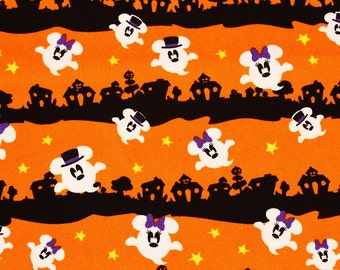 "Disney Mickey Minnie Mouse Character Oxford Fabric for Halloween made in Japan, FQ45cm by 53cm or 18"" by 21"""