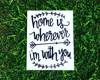 Quote Canvas 11x14 Home is wherever i'm with you
