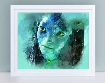 Avatar printable poster, Avatar poster, Avatar instant download, Avatar Neytiri poster, Neytiri printable wall art, Watercolor Neytiri art