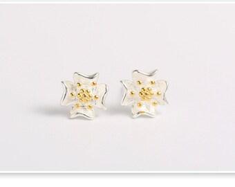 sterling silver lotus flower stud earrings, lotus flower earrings, lotus earrings, flower earrings,bridesmaid earrings,wedding earrings