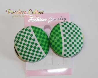 Green Polka Dots Stud Earrings African White Polka Dots Button Covered Stud Earrings Ankara Earrings Fall Earrings Perfect Gift for her