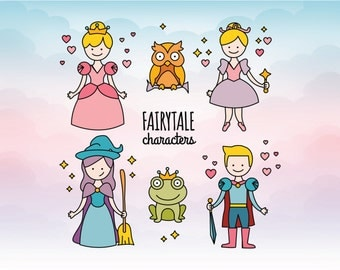 Fairytale characters Princess Fairy Prince Frog Owl Magic SVG DXF EPS Png Ai files included Great for silhouette cameo vinyl crafts