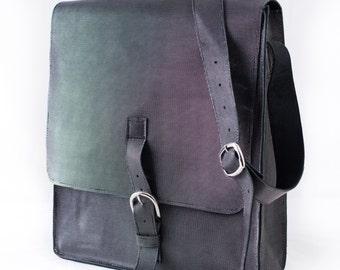 Metallic Black Messenger Bag