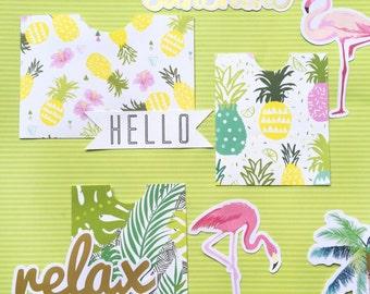 Summer Tropical Paper Pockets- DIY Fold & Stick For -Penpals, Project Life, Journaling, Scrapbooking, Planner