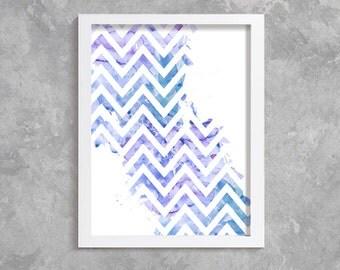 Zigzag Print, Printable Art, digital art,  Modern Wall Art, Wall Decor, Digital Download, zigzag watercolor, abstract print, blue,