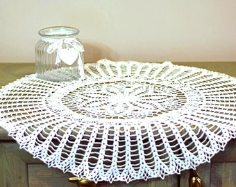 60cm (23.6in) handmade white crochet doily / tablecloth