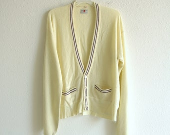 50s/60s Light Yellow and Brown Stripe Wool Cardigan Size XL