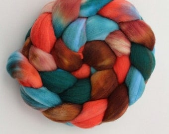 Superwash Merino Hand Painted Combed Top - Spinning Fiber - Non Feltable - approx. 4 ounces. - SOUTHWEST