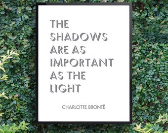 Jane Eyre, Literary art, Book lover gifts, English teacher gift, Charlotte Bronte 'The Shadows Are As Important...', Fast shipping to USA