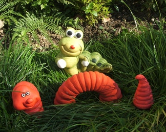 Latex moulds or molds for a 3 piece worm and a caterpillar