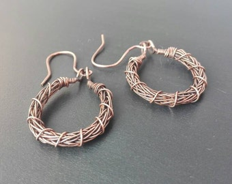 Viking knit earrings, wire jewellery, hoop earrings, copper jewellery, handmade jewellery, wire wrapped jewelry, anniversary gift,