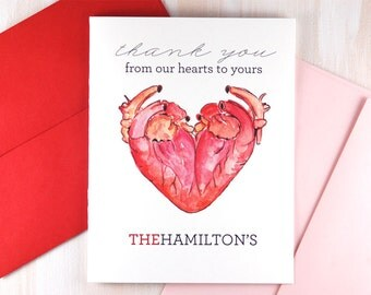 Personalized Stationery, Anatomy Heart Watercolor Stationary, Nurse Gift, Unique Wedding Gift for Doctor, Wedding Thank You Cards Set of 10