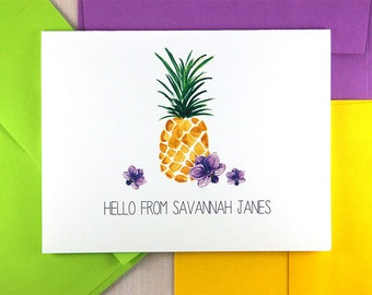Pineapple Stationary Set, Housewarming Gift, Personalized Stationery Set, Tropical Stationery