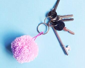 Pink and Purple Pom Pom Keychain