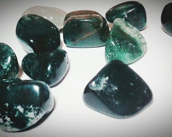 Moss Agate Tumbled Stone - Green Moss Agate - Polished Gemstone - Crystal Healing - Botany Stone - Reiki - Wicca - Metaphysical - Heart