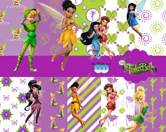 Digital paper kit holiday Tinker Bell / Tinkerbell Digital Papers Clipart