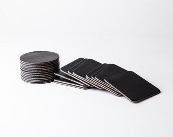 Premium Heavyweight English Bridle Coasters (Black) - 10 / 11 oz. - Raw or Finished Edge - Customizable - Blank