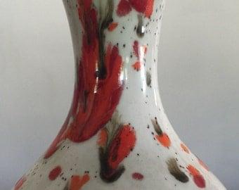 Vintage pottery vase bar harbor maine speckled colorful vase cream orange olive green ceramic vase gift under 10