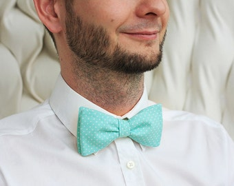 Let's fall in love with mentol polka dots bowtie.