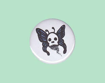 Skull Butterfly Badge - skull badge, gothic butterfly pin, gothic button, deathshead