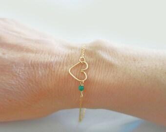 Emerald Bracelet, Gold Filled Heart Bracelet, Genuine Gemstones, Sterling Silver Rose Gold Fill, May Birthstone Baby Girl Delicate Jewelry
