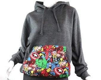 Super Hero Marvel Comic Patched Unisex Pullover Hoodie Sweatshirt, Gray Hoodie