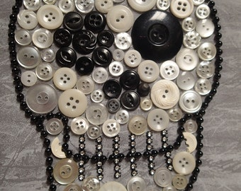 Halloween Skull. Halloween Décor. Button Art. Button Artwork. Vintage Buttons. Skull Artwork. Handmade. One-of-a-Kind. Unique. Custom Made.