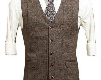 Men's Vest in Woven Brown Check