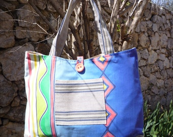 Cotton bag style beach with blue braid stripe